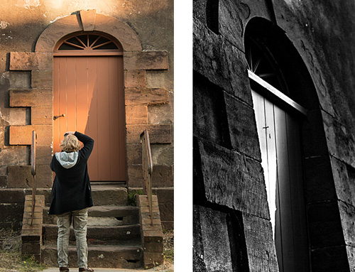 Maggie Zwilling made one of the best images of the workshop before we had even officially started. Kim Hawks photographed Maggie as she was working with the rapidly shifting late day light on the door of the lighthouse. Kim's image on the left shows Maggie while she was hard at work exploring the subject, but also shows how the door appears in a literal sense. Maggie's lovely image on the right shows a recognition of shape, texture, and light, independent of the meaning of the object. In other words, Maggie found a composition not bound by the logic of a door.